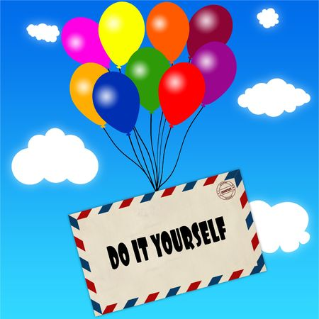 Envelope with DO IT YOURSELF message attached to multicoloured balloons on blue sky and clouds background. Illustration