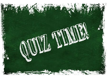 Green grunge chalkboard with QUIZ TIME   text. Illustration graphic