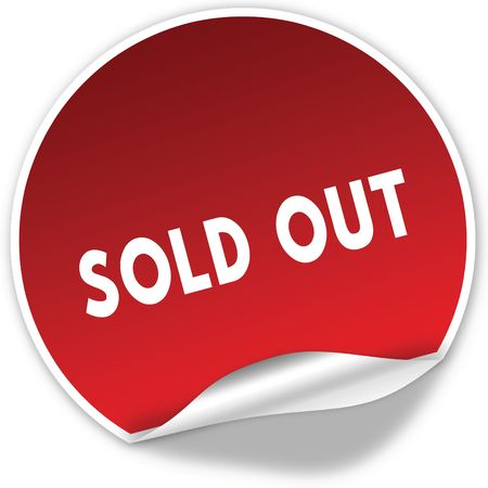 SOLD OUT text on realistic red sticker on white background. Illustration