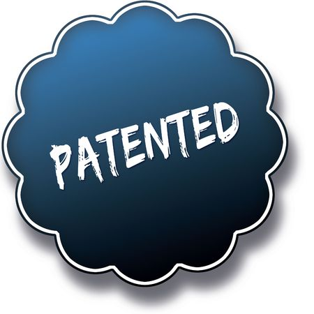 PATENTED text written on blue round label badge. Illustration Stock Photo