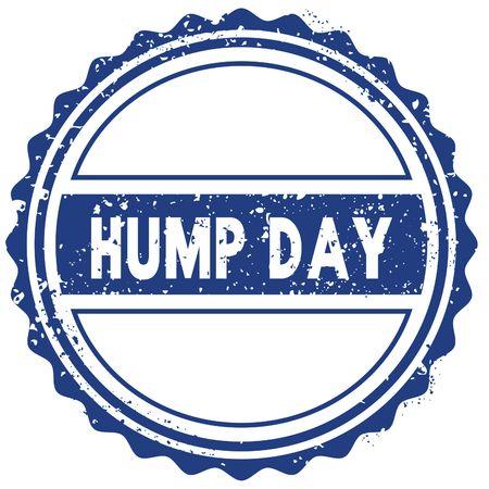 HUMP DAY stamp. sticker. seal. blue round grunge vintage ribbon sign. illustration