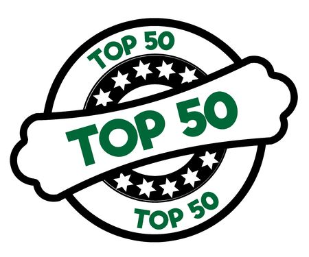 Black and green TOP 50 stamp. Illustration graphic concept