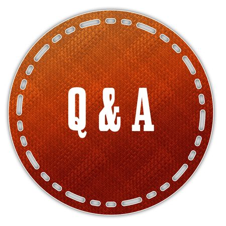 Round orange pattern badge with Q A QUESTIONS AND ANSWERS message. Illustration graphic design concept image
