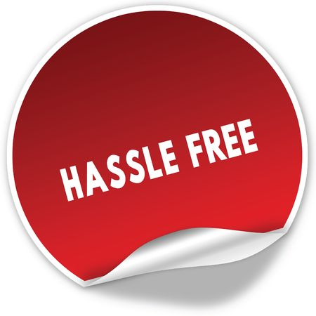 HASSLE FREE text on realistic red sticker on white background. Illustration