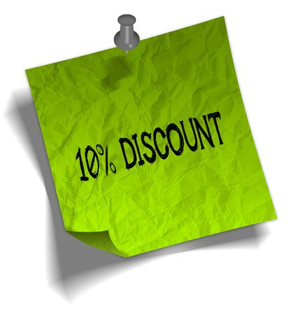 Green note paper with 10 PERCENT DISCOUNT message and push pin graphic illustration. Stock Photo