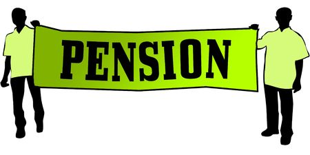 PENSION on a green banner carried by two men. Illustration graphic