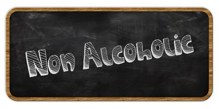NON ALCOHOLIC written in chalk on blackboard. Wood frame. Illustration Stock Photo