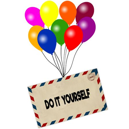 DO IT YOURSELF on envelope pulled by coloured balloons isolated on white background. Illustration