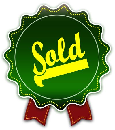 SOLD round green ribbon. Illustration graphic design concept image Banco de Imagens