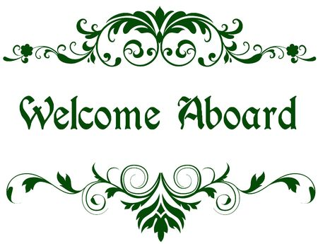 Green frame with WELCOME ABOARD text. Illustration image concept