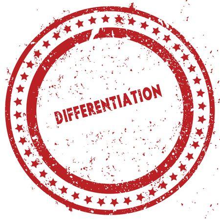 Rode DIFFERENTIATIE verontruste rubberzegel met grungetextuur. Illustratie