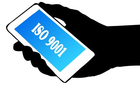 Hand silhouette holding phone with ISO 9001 text. Illustration concept