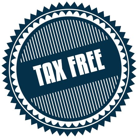 Round TAX FREE blue sticker. Illustration image concept