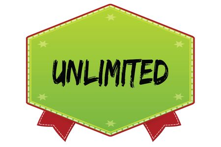 UNLIMITED on green badge with red ribbons. Illustration image