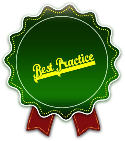 BEST PRACTICE round green ribbon. Illustration graphic design concept image Stockfoto