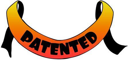 Orange ribbon withPATENTED text. Illustration concept image