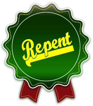 REPENT round green ribbon. Illustration graphic design concept image