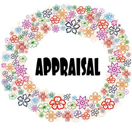 APPRAISAL in floral frame. Illustration graphic concept image Stock Illustration - 92830565