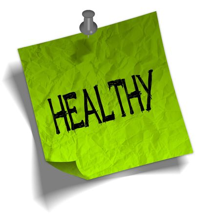 Green note paper with HEALTHY message and push pin graphic illustration.