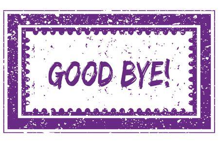 GOOD BYE   in magenta grunge square frame stamp. illustration image