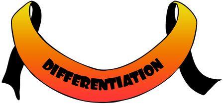 Oranje lint met tekst DIFFERENTIATIE. Afbeelding afbeelding van de afbeelding Stockfoto