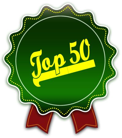 TOP 50 round green ribbon. Illustration graphic design concept image