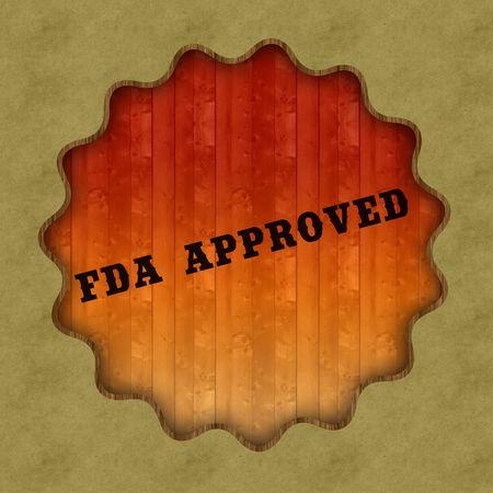 Retro FDA APPROVED text on wood panel background, illustration. Stock Photo