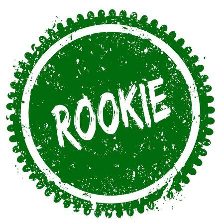 ROOKIE round grunge green stamp. Illustration concept Stock Photo