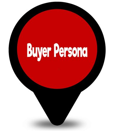 BUYER PERSONA on red location pointer illustration graphic