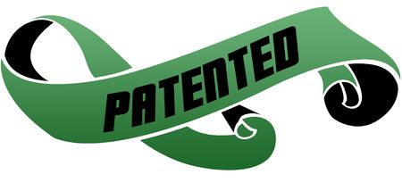 Green scrolled ribbon with PATENTED message. Illustration image Stock Photo