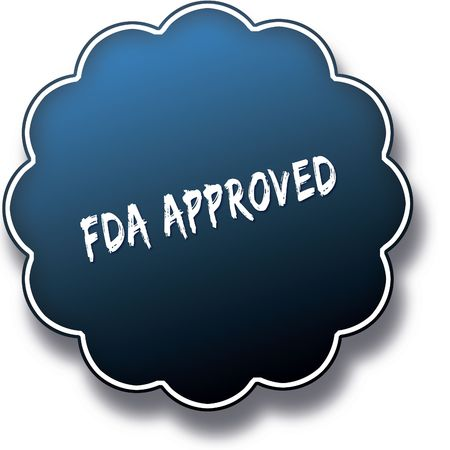FDA APPROVED text written on blue round label badge. Illustration