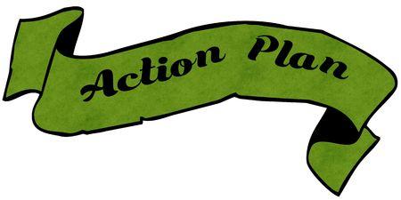行動計画グリーン リボン。イラスト グラフィック コンセプト イメージ