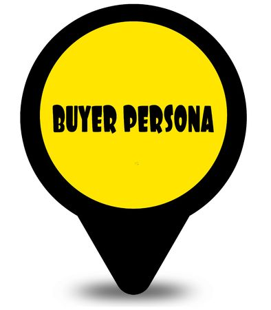 Yellow location pointer design with BUYER PERSONA text message. Illustration