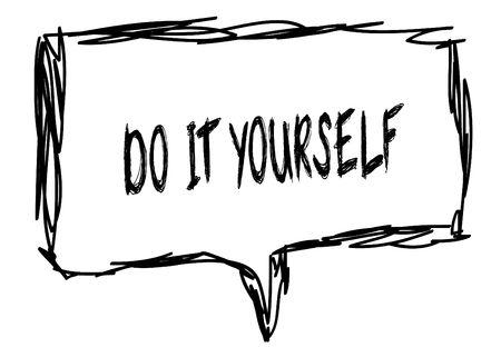 DOE HET ZELF op een potlood geschetst teken. Illustratie grafisch concept. Stockfoto