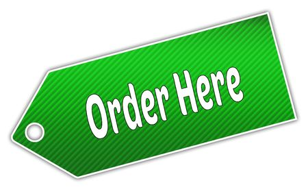 Striped green ORDER HERE label. Illustration graphic design concept image Stock Photo