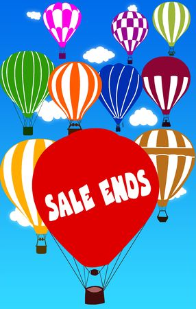 SALE ENDS written on hot air balloon with a blue sky background. Illustration