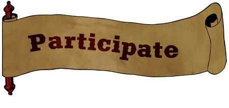 PARTICIPATE text on old scroll paper drawing illustration concept