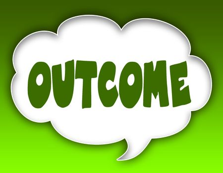 OUTCOME message on speech cloud graphic. Green background. Illustration Stock Photo