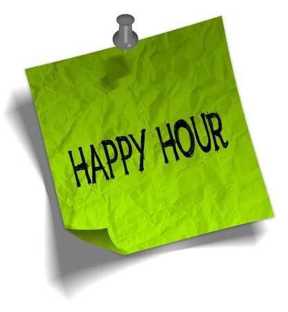Green note paper with HAPPY HOUR message and push pin graphic illustration.