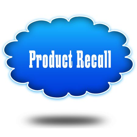 PRODUCT RECALL text message on hovering blue cloud. Illustration Stock Photo