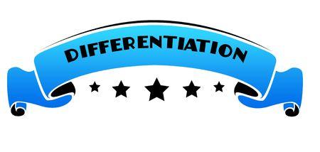 Blauwe band met tekst DIFFERENTIATION. Illustratie grafisch concept Stockfoto
