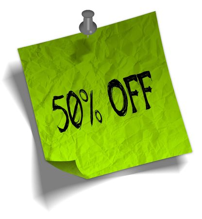 Green note paper with 50 PERCENT OFF message and push pin graphic illustration.