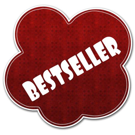 Red pattern cloud with BESTSELLER text written on it illustration.