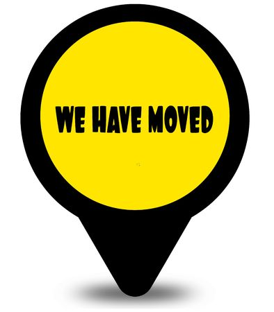 Yellow location pointer design with WE HAVE MOVED text message. Illustration