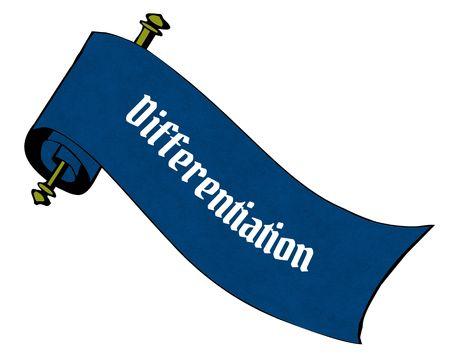 DIFFERENTIATIE op blauw papier scroll cartoon. Illustratie afbeelding