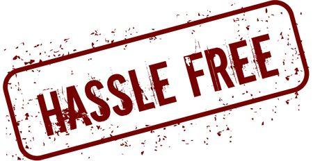 Distressed HASSLE FREE grunge stamp. Illustration concept image