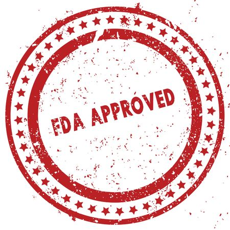 Red FDA APPROVED distressed rubber stamp with grunge texture. Illustration