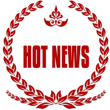 HOT NEWS red laurels badge. Illustration image concept Stockfoto