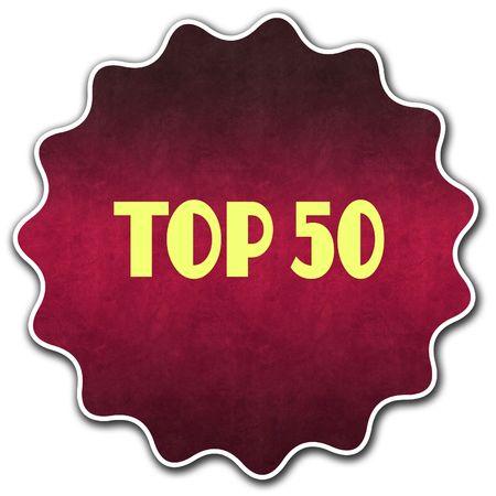 TOP 50 round badge illustration graphic concept image