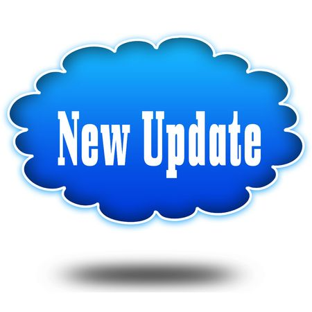NEW UPDATE text message on hovering blue cloud. Illustration